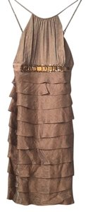 Adrianna Papell Ruffled Coctail Belted Tan Dress