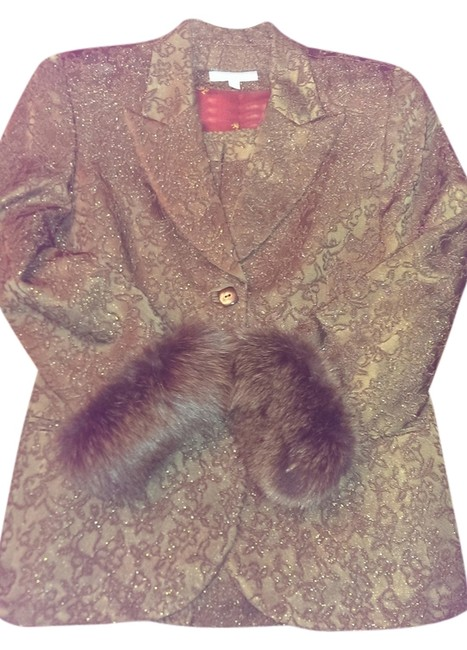 Item - Rich Brown with Brown Fox Fur For Saks Fifth Avenue Skirt Suit Size 12 (L)