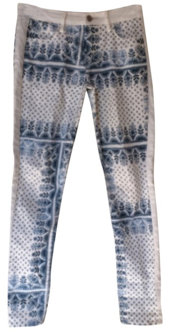 Item - Blue and White Coated Floral Skinny Jeans Size 24 (0, XS)