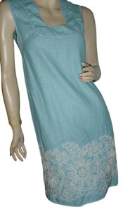 Studio M Turquoise Aquamarine White Embroidery U Neckline Scroll Embroidery Dress