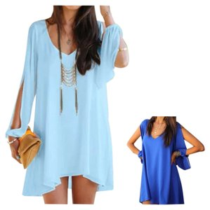 short dress Light Blue Bohemian Free People on Tradesy