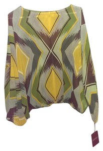 Ellen Tracy Top brown, yellow, green and white