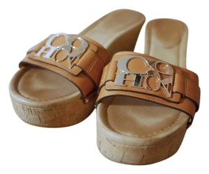 Coach Slip Ons Leather Camel Mules