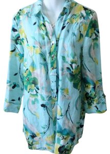 JM Collection Linen Tunic Button Down Shirt turquoise