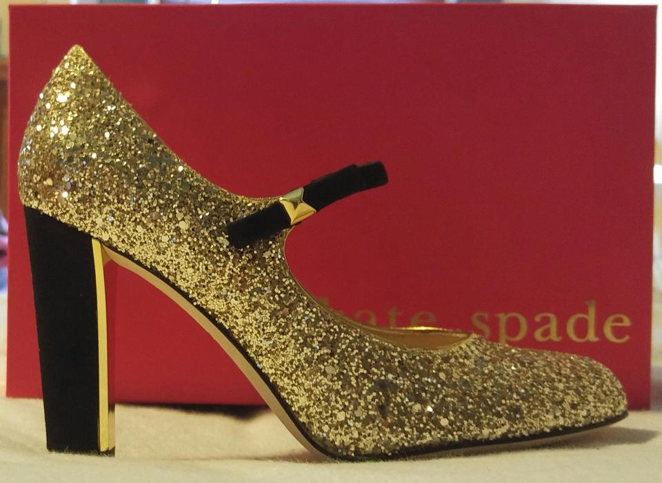 9fc372748c95 Kate Spade Mary Jane Glitter Party Gold Pumps Image 6. 1234567