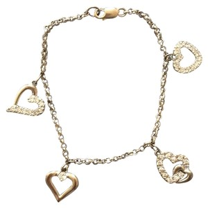 Sterling Silver Charm Bracelet With 4 Hearts