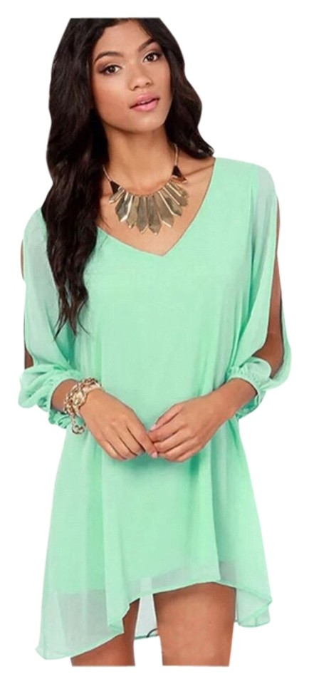 8b88f05ed060 Mint Green New Boho Chiffon Tunic Top Long Sleeve with Opening Tag Xl (Fits  Us Large) Best) Short Casual Dress