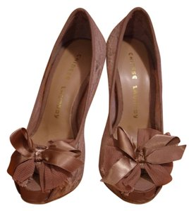 Chinese Laundry Lace Ribbon Bow Wedding Nude Pumps