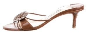 Jimmy Choo Leather Open Toe Beaded Kitten Casual Sandal Spring Summer Italian Vintage Cut-out Brown Pumps