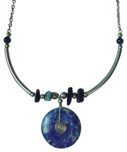 South American GORGEOUS VINTAGE SOUTH AMERICAN LAPIS LAZULI & SILVER NECKLACE SUN SYMBOL