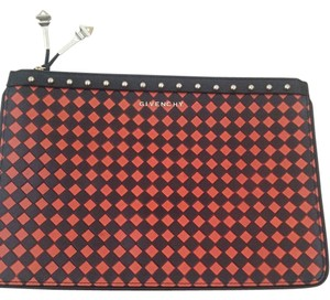 Givenchy Studs Leather Monogram Black&Red Clutch