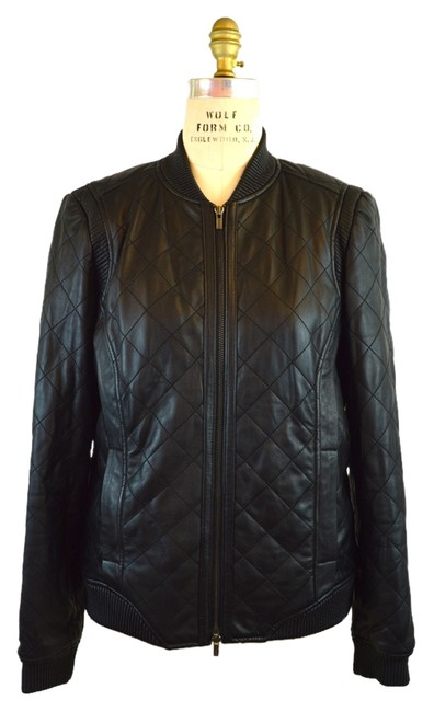 Item - Black Quilted Bomber Jacket Size 8 (M)