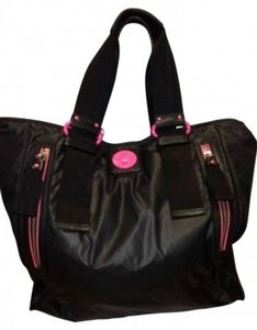 Juicy Couture Pop Lock Xl Style #yhrus854 Studded Logo Tote in Black/Hot Pink