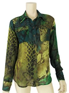 INC International Concepts Button Down Shirt Green/Brown/Lime