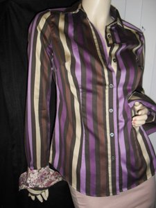 Ted Baker Button Down Shirt purple & brown stripes