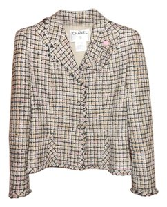 Chanel black and cream tweed Blazer