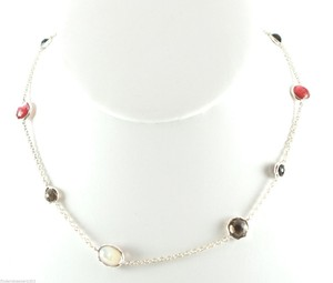 Ippolita IPPOLITA Sterling Silver Wonderland Chain Necklace Red Black Onyx Brown Quartz