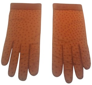 Hermès Rare Hermes Brown Ostrich Leather Gloves Size 7 1/2