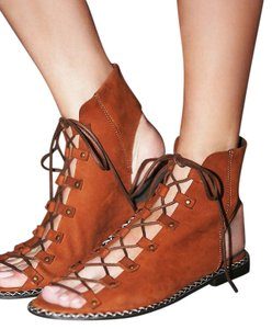 Free People Edgewater Lace Up Sz 37 Rust Sandals