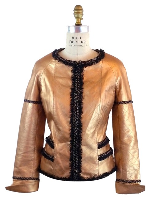 Chanel Quilted Tweed Copper Leather Jacket