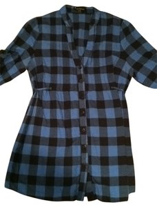 Forever 21 Button Down Shirt blue/black