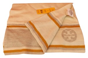 Tory Burch REVERSIBLE IVORY TWO TONE REVA STRIPE JACQUARD WOOL SCARF $175