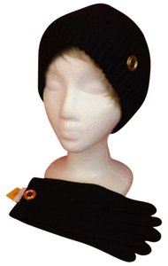 Tory Burch BLACK MOSS CASHMERE STITCH POM POM GOLD LOGO HAT GLOVES SET $320