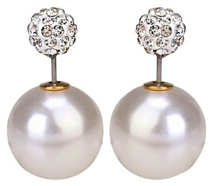 Earrinsg tremd 2016 Double Pearl Back front pave CZ rhinestone crystal stud earrings/ Front back earrings/ Pearl back earrings/ Double pearl earrings