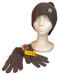 Tory Burch CHARCOAL MOSS CASHMERE STITCH POM POM GOLD LOGO HAT GLOVES SET