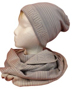 Tory Burch HEATHER GRAY STRIPED MERINO WOOL LOGO INFINITY SCARF & HAT SET