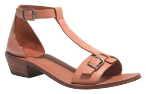Madewell Leather Buckle T-strap Beige Brown 70's Chunky Camel Tan Sandals