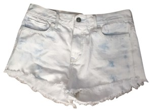 Gilly Hicks Acid Wash High Waisted Frayed Cut Off Shorts Blue and white