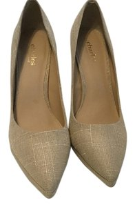 Charles by Charles David Patterned Linen Leather Soles Tan Pumps