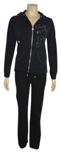 BCBGMAXAZRIA BCBG MAX AZRIA Black Cotton Blend Women Sweat Set Size S/L On Sale