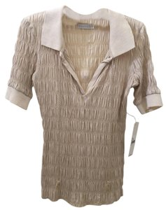 Chaiken Ruched Polo Shirt Nwt Top beige