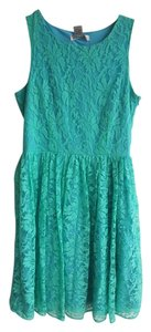 short dress Aqua and Blue Lace Pleated Turquoise Mint on Tradesy