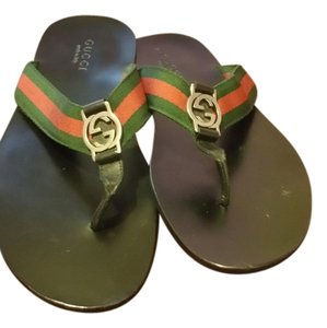 Gucci black with red and green straps Sandals