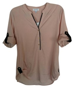 Calvin Klein Rose Black Trim Button Down Shirt Blush Pink