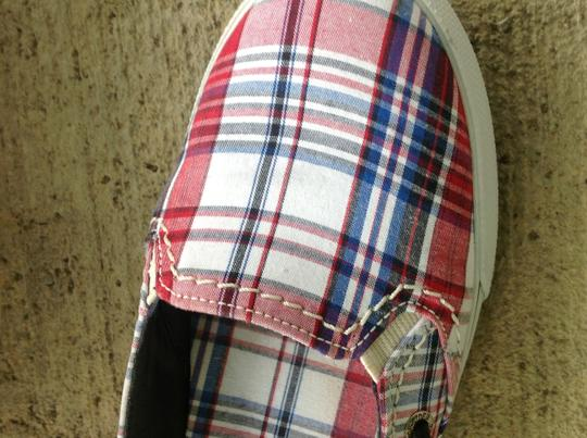 Sperry Navy & Red Plaid Flats
