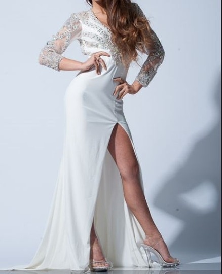 Mac duggal couture ivory jersey knit 42655p formal wedding for Jersey knit wedding dress