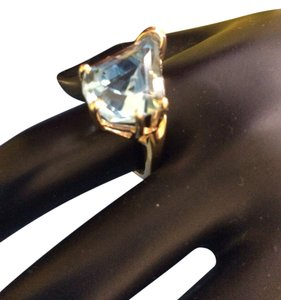 custom 14k Yellow Gold , Unique Cut Blue Topaz Ring , Size 5