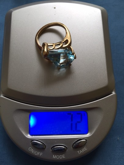 Other 14k Yellow Gold , Unique Cut Blue Topaz Ring , Size 5