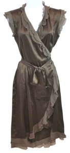 QUENNIE Taupe Wrap Silk France Dress