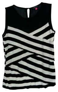 Vince Camuto Striped Sheer Layers Ruffles Assymetric Top Black, White