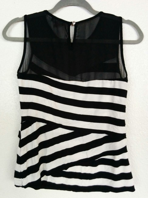Vince Camuto Striped Sheer Layers Ruffles Assymetric Top Black, White Image 1