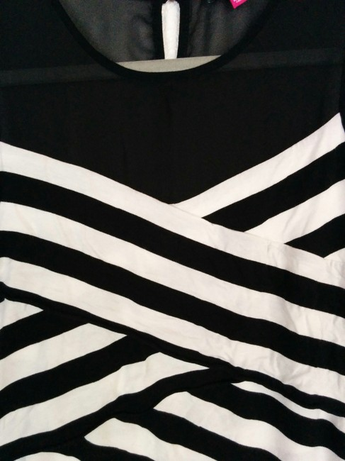 Vince Camuto Striped Sheer Layers Ruffles Assymetric Top Black, White Image 2