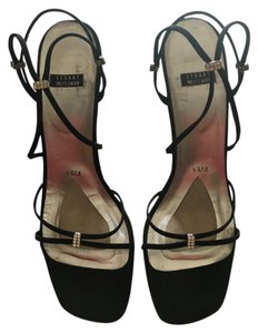 Stuart Weitzman Rhinstone Evening Black Satin Sandals
