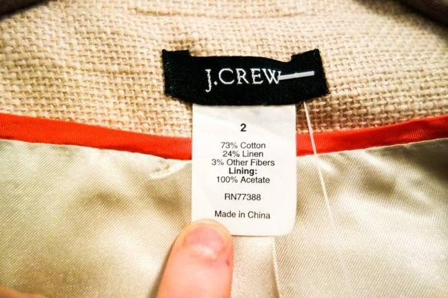 J.Crew Shiny Holiday Dressy Peter Pan Collar Cream Textured Linen Cotton Jacket