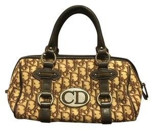 Dior Logo Vintage Leather & Fabric Satchel in Brown