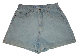 Vintage high waist Denim Light Wash Cuffed Shorts blue